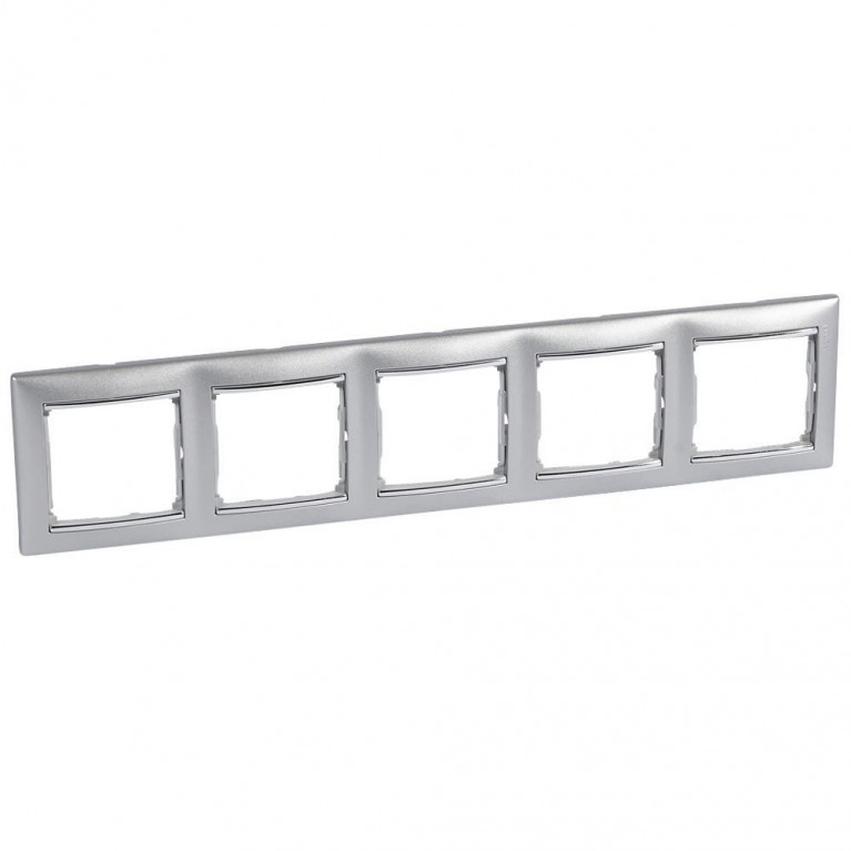 Рамка 5-постовая Legrand Valena алюминий/серебряный штрих 770355