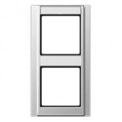 Рамка 2-постовая с шильдиком вертикальная Jung A 500 алюминий A582NAAL