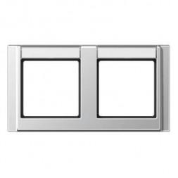 Рамка 2-постовая с шильдиком горизонтальная Jung A 500 алюминий A5820NAAL