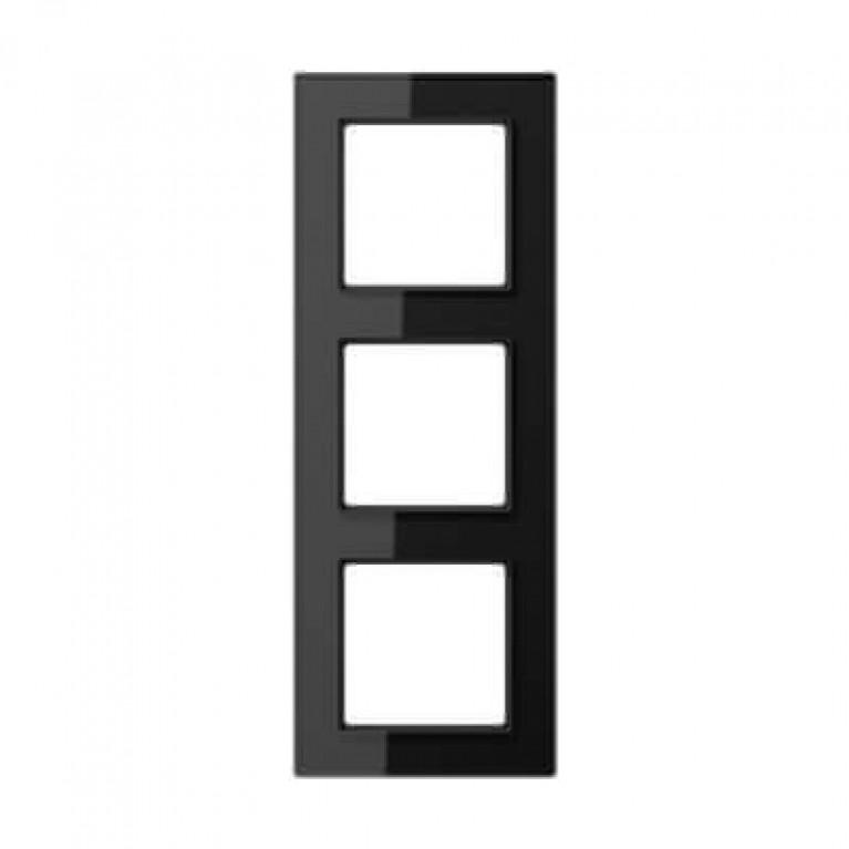 Рамка 3-постовая Jung A creation стекло черное AC583GLSW