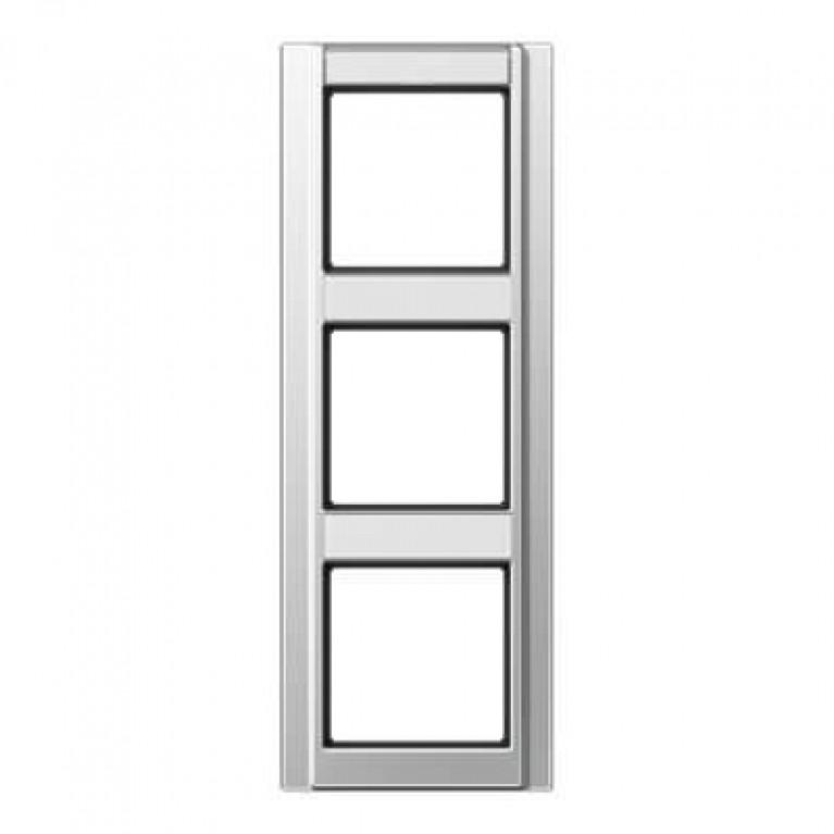 Рамка 3-постовая с шильдиком вертикальная Jung A 500 алюминий A583NAAL