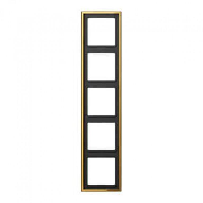 Рамка 5-постовая Jung LS 990 блеск золота GO2985