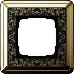 Рамка 1-постовая Gira ClassiX Art латунь/черный 0211672