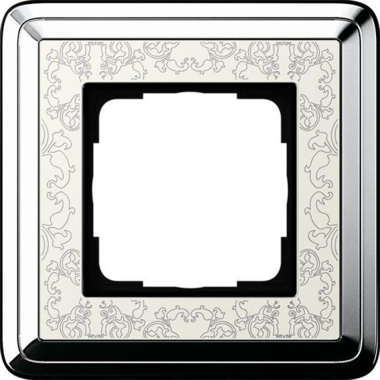 Рамка 1-постовая Gira ClassiX Art хром/кремовый 0211683