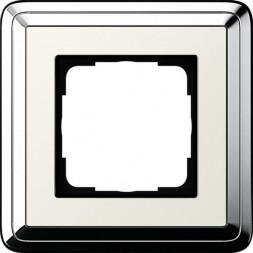 Рамка 1-постовая Gira ClassiX хром/кремовый 0211643