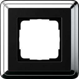 Рамка 1-постовая Gira ClassiX хром/черный 0211642