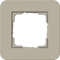 Рамка 1-постовая Gira E3 серо-бежевый/белый глянцевый 0211418