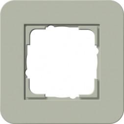 Рамка 1-постовая Gira E3 серо-зеленый/белый глянцевый 0211415