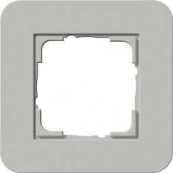 Рамка 1-постовая Gira E3 серый/белый глянцевый 0211412