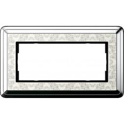 Рамка 2-модульная Gira ClassiX Art хром/кремовый 1002683