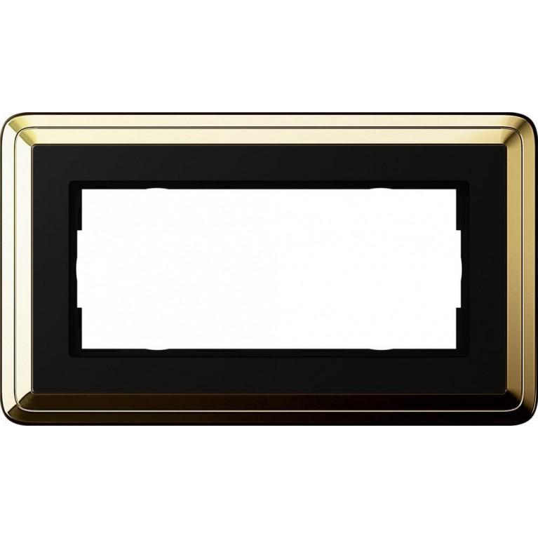 Рамка 2-модульная Gira ClassiX латунь/черный 1002632