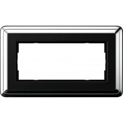 Рамка 2-модульная Gira ClassiX хром/черный 1002642