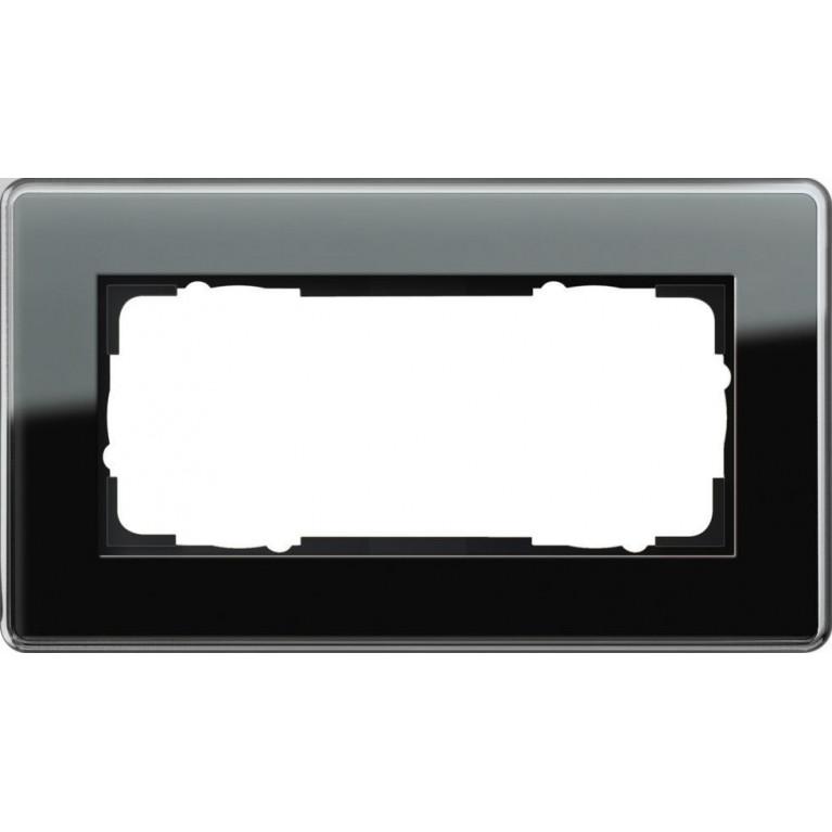 Рамка 2-модульная Gira Esprit C черное стекло 1002505