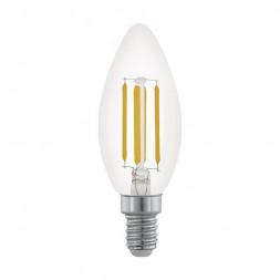 Лампа светодиодная филаментная диммируемая Eglo E14 3,5W 2700К прозрачная 11704