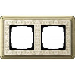 Рамка 2-постовая Gira ClassiX Art бронза/кремовый 0212663