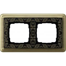Рамка 2-постовая Gira ClassiX Art бронза/черный 0212662