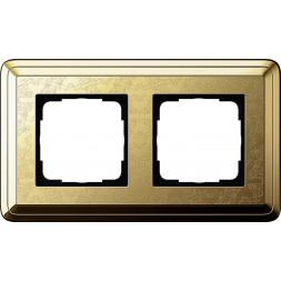 Рамка 2-постовая Gira ClassiX Art латунь 0212671