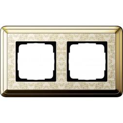 Рамка 2-постовая Gira ClassiX Art латунь/кремовый 0212673