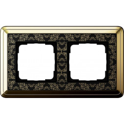 Рамка 2-постовая Gira ClassiX Art латунь/черный 0212672