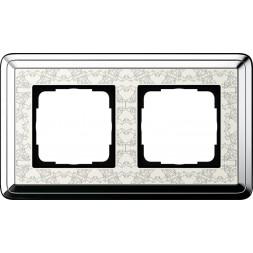 Рамка 2-постовая Gira ClassiX Art хром/кремовый 0212683