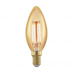 Лампа светодиодная филаментная диммируемая Eglo E14 4W 1700К золотая 11698