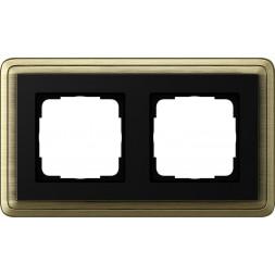 Рамка 2-постовая Gira ClassiX бронза/черный 0212622