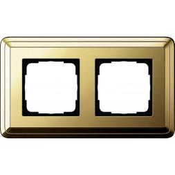 Рамка 2-постовая Gira ClassiX латунь 0212631