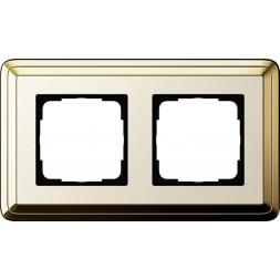 Рамка 2-постовая Gira ClassiX латунь/кремовый 0212633