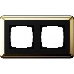 Рамка 2-постовая Gira ClassiX латунь/черный 0212632