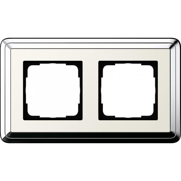 Рамка 2-постовая Gira ClassiX хром/кремовый 0212643