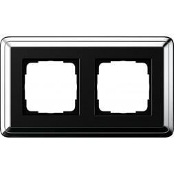 Рамка 2-постовая Gira ClassiX хром/черный 0212642