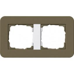 Рамка 2-постовая Gira E3 белый дымчатый/белый глянцевый 0212416