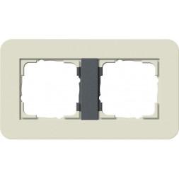 Рамка 2-постовая Gira E3 белый песочный/антрацит 0212427