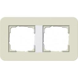 Рамка 2-постовая Gira E3 белый песочный/белый глянцевый 0212417