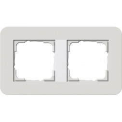 Рамка 2-постовая Gira E3 светло-серый/белый глянцевый 0212411
