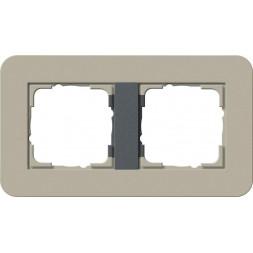 Рамка 2-постовая Gira E3 серо-бежевый/антрацит 0212428