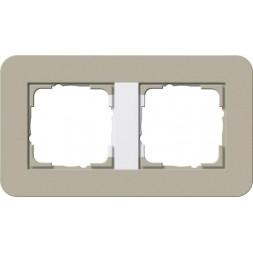 Рамка 2-постовая Gira E3 серо-бежевый/белый глянцевый 0212418