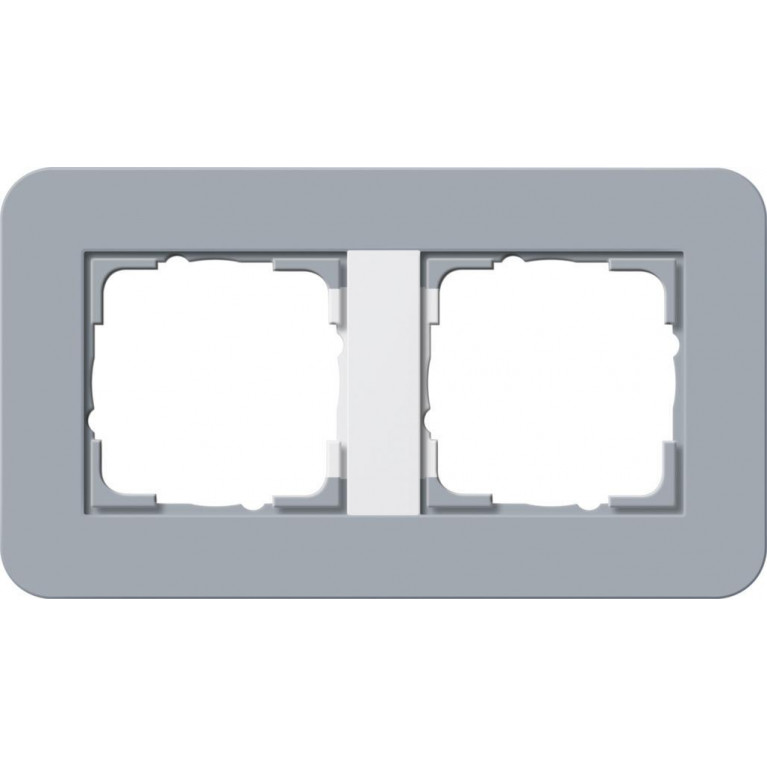 Рамка 2-постовая Gira E3 серо-голубой/белый глянцевый 0212414
