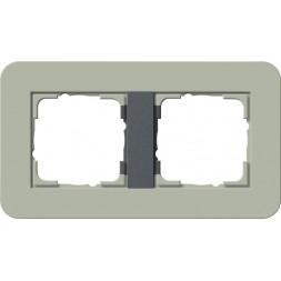 Рамка 2-постовая Gira E3 серо-зеленый/антрацит 0212425