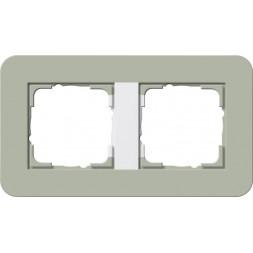 Рамка 2-постовая Gira E3 серо-зеленый/белый глянцевый 0212415
