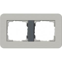 Рамка 2-постовая Gira E3 серый/антрацит 0212422