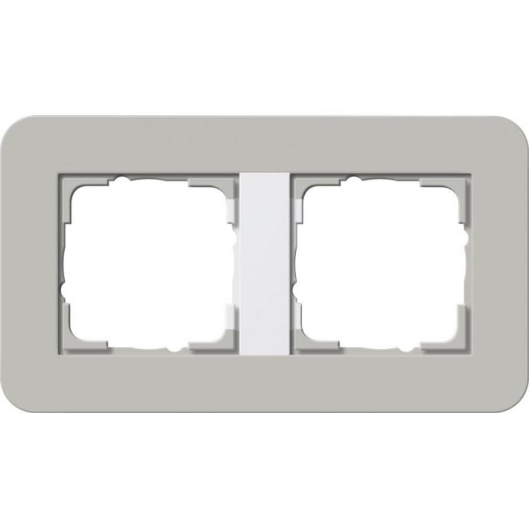 Рамка 2-постовая Gira E3 серый/белый глянцевый 0212412
