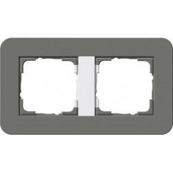 Рамка 2-постовая Gira E3 темно-серый/белый глянцевый 0212413