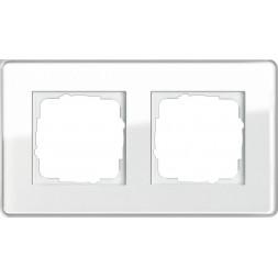 Рамка 2-постовая Gira Esprit C белое стекло 0212512