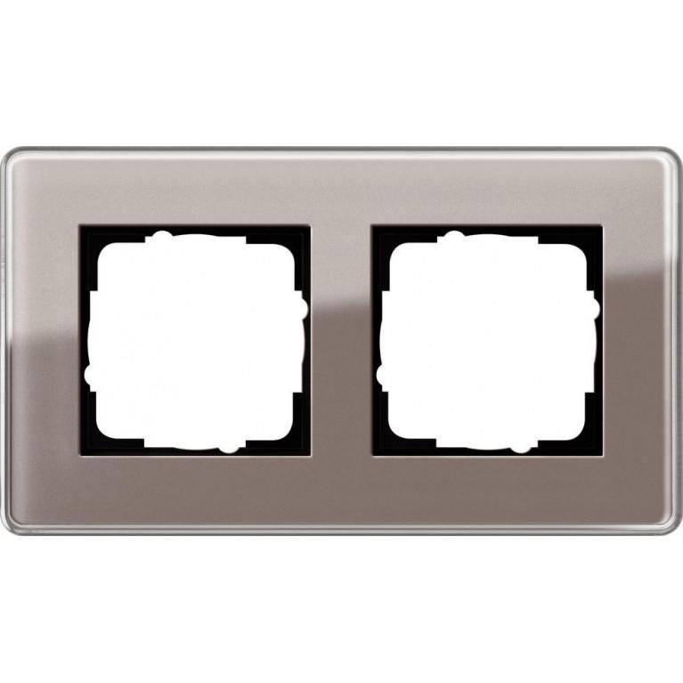 Рамка 2-постовая Gira Esprit C дымчатое стекло 0212522