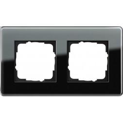 Рамка 2-постовая Gira Esprit C черное стекло 0212505