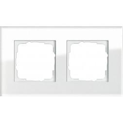 Рамка 2-постовая Gira Esprit белое стекло 021212