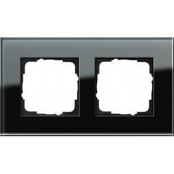 Рамка 2-постовая Gira Esprit черное стекло 021205