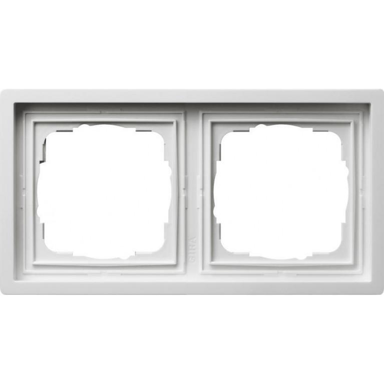 Рамка 2-постовая Gira F100 чисто-белый глянцевый 0212112