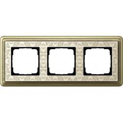Рамка 3-постовая Gira ClassiX Art бронза/кремовый 0213663